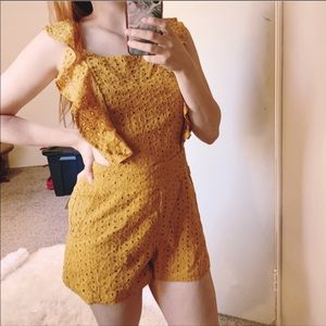 Do+Be Mustard Yellow Lace Ruffle Romper NWT